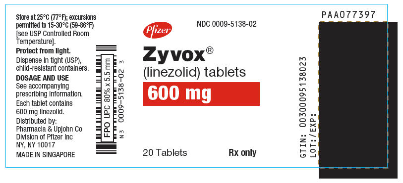 PRINCIPAL DISPLAY PANEL - 600 mg Tablet Bottle Label - NDC 0009-5138-02